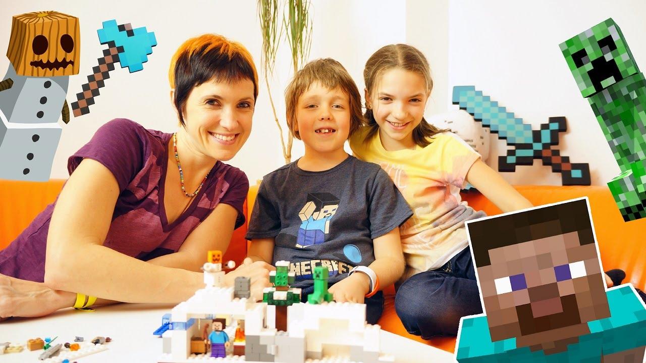 МайнКрафт Лего! Адриан и Света помогают Маше собрать Стива! Видео для детей