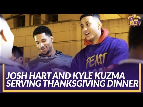 Video: Lakers Community: Hart, Kuzma, & Wagner Serve Some Thanksgiving Dinner To The Community
