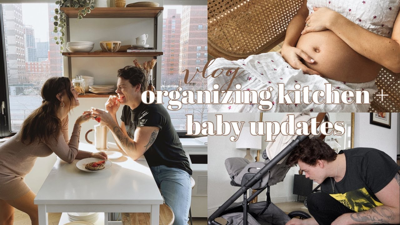 VLOG: organizing kitchen, getting our stroller + baby bump photos!