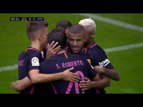 Sporting Gijon vs FC Barcelona 0-5 All Goals and Highlights Commentary 2016-17 HD 720p