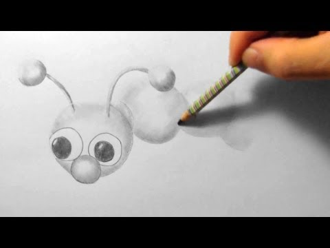 Raupe, Zeichnen im Zeitraffer (Caterpillar, drawing in fast motion)[HD]