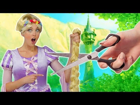 Hair cutting - RAPUNZEL'S HAIR CUT AFTER SHE SAVES FLYNN RIDER. (With Elsa, Belle and Cinderella) Totally TV