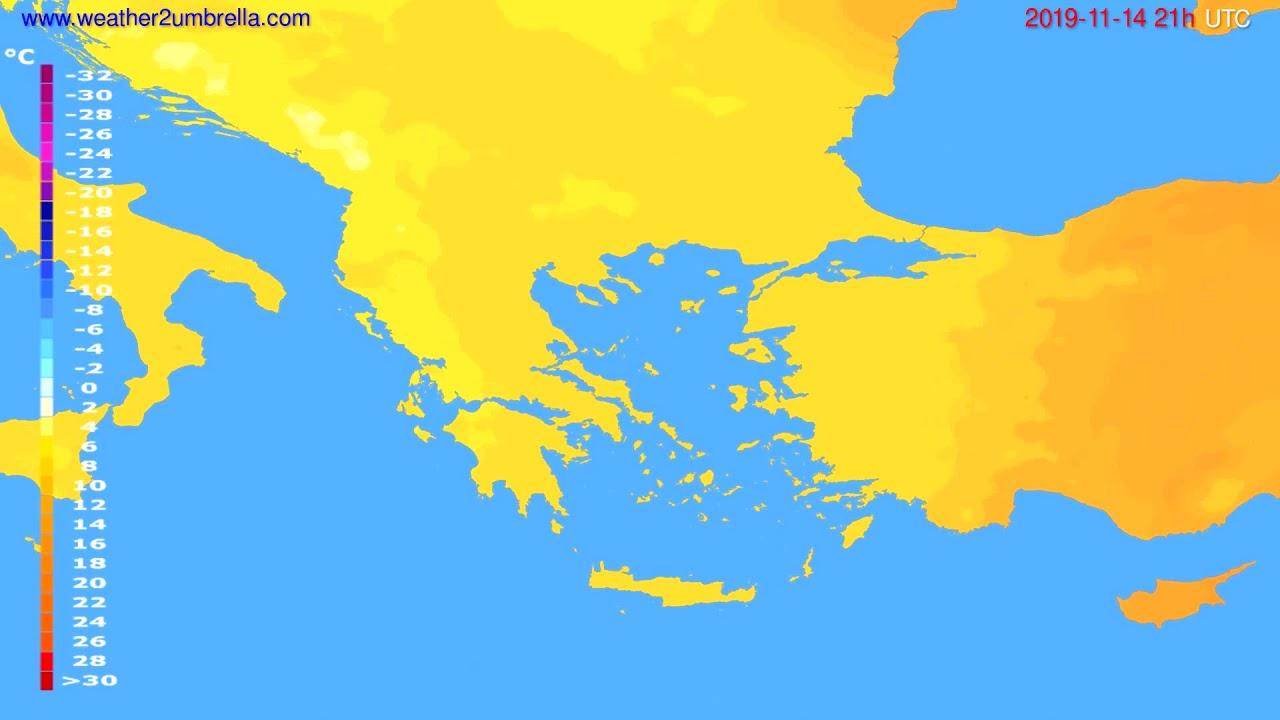 Temperature forecast Greece // modelrun: 00h UTC 2019-11-13