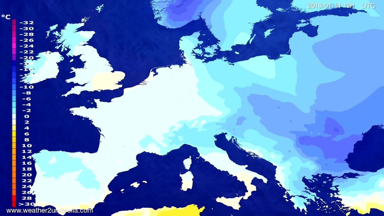 Temperature forecast Europe 2018-01-10