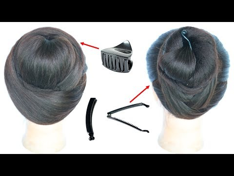 Curly hairstyles - 2 cute & easy hairstyles with using clutcher  cute hairstyles  hair style girl  simple hairstyle
