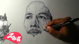 Jordy.B Artwork presents a drawing of Bob Marley in Ballpoint pen (Biro), No music guys, just because I wanted this drawing to be Noise Free and peaceful in ...