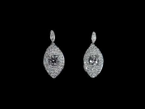 Lady's 18k White Gold 0.33ct and 0.36ct Round Brilliant Cut Diamond Earrings