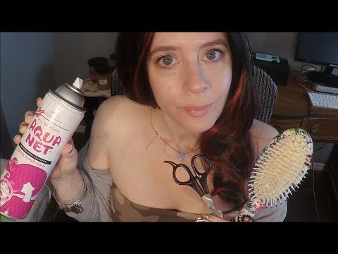 Hair salon - ASMR Most Relaxing Gum Chewing Hair Cut. Brushing, Whispers