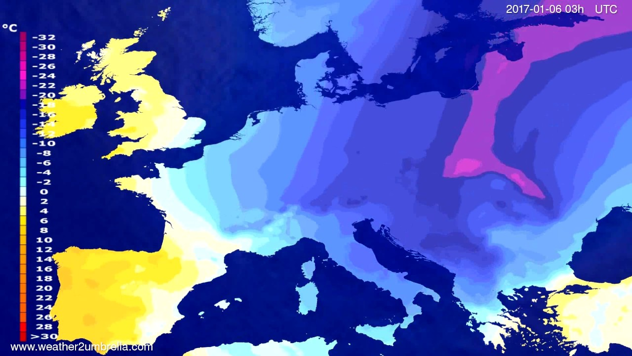 Temperature forecast Europe 2017-01-03