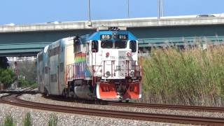 Northbound Tri-Rail Passenger Train with Loco #815 [GP49PH-3] is pushing three passenger cars.Nice TOOTS from the engineer! Thanks!
