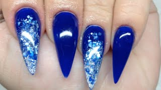 How To Blue Crushed Shell Acrylic Nails - YouTube