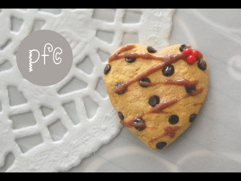 ♥ Heart-Shaped Chocolate Chip Cookie Polymer Clay Magnet Tutorial