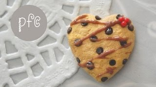 DIY ♥ Heart-Shaped Chocolate Chip Cookie Polymer Clay Magnet Tutorial - YouTube