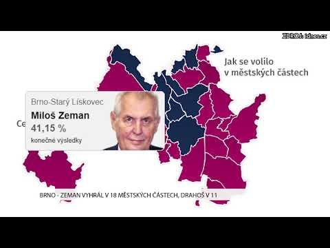 TV Brno 1: 15.1.2017 Zeman vyhrál v 18 městských částech, Drahoš v 11.