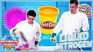 A bouncy ball, playdoh and a teddy. What do you think will happen when we put them in Liquid Nitrogen? #BrothersDoScience► Subscribe To See More :) - http://bit.ly/OliWhiteTVLeave a comment below what you think we should freeze next!Welcome to our brand new series called Brothers Do Science: In The Lab. Each week we will be experimenting with Liquid Nitrogen and freezing different objects. The question is will they survive the smash zone??We will also be freezing a viewer suggested item each week so let us know what you want us to freeze using the hashtag #BrothersFreezeThis.I really hope you guys like the new series :)Big thanks to Westminster Uni!https://www.westminster.ac.uk/MY INSTAGRAM: @OliWhiteTVMY TWITTER: @OliWhiteTVMY SNAPCHAT: OliWhite1MY FACEBOOK: fb.com/OliWhiteTVFOLLOW JAMES ON TWITTER: @JamesWhite_TVFOLLOW JAMES ON INSTAGRAM: @JamesWhite_TV► ORDER THE TAKEOVER NOW! - http://www.gen-next.co.uk▶︎ (UK) ORDER GENERATION NEXT - http://amzn.to/1QkOuMw▶︎ (USA) http://bit.ly/GenNextUSBook