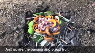 Reliving the life of the ancient inhabitants of Aitutaki. The Umu, an earthen oven as one of the method of cooking consisting of ...