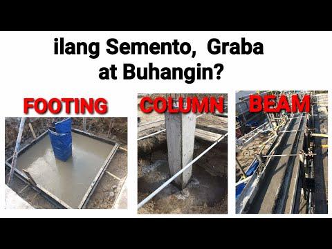 ilang Semento, Graba at buhangin para sa Poste, Footing, Beam at Slab at Tamang mixture Proportion