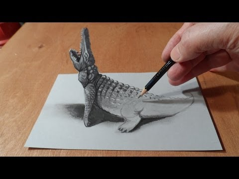 How To Draw Crocodile - Drawing 3d Crocodile - 3d Trick Art - By Vamos