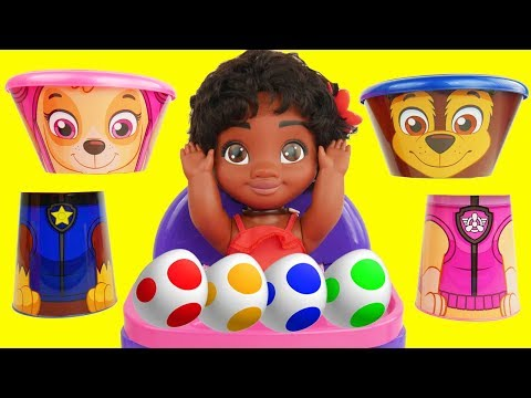 Learning Colors for Kids with Paw Patrol Baby CeCe Doc McStuffins Bath Paint   Sparkle Spice