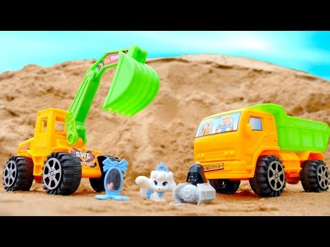 Видео машинки для детей. Игры и игрушки - Сюрприз в песочнице. (видео)