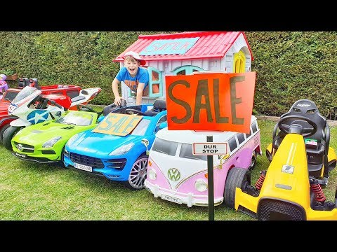 Ali and Adriana play SALE TOY CARS in the garden and Ride on Power Wheels