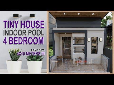 Tiny House 4x10 Meters 4 Bedroom Indoor Pool   Rumah 4x10 Meter 4 Kamar ada Kolam Renang Indoor