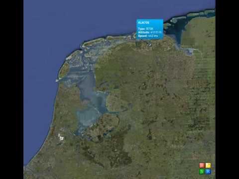 Testvlucht KLM boven Nederland op 17 april 2010
