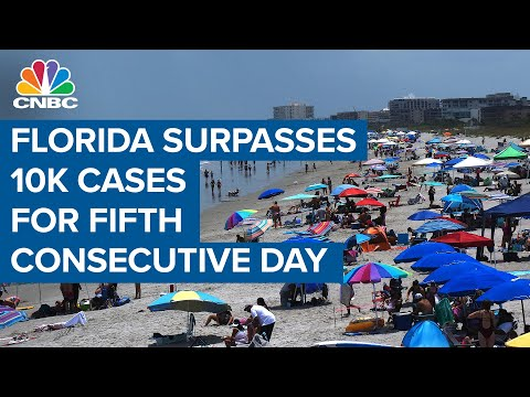 Florida surpasses 10,000 Covid-19 cases for fifth consecutive day