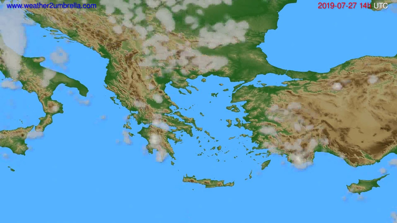 Cloud forecast Greece // modelrun: 12h UTC 2019-07-25