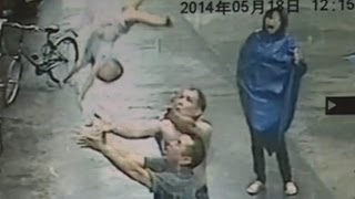 Shocking CCTV: Man Catches Baby Who Falls Out Of Two Storey Building