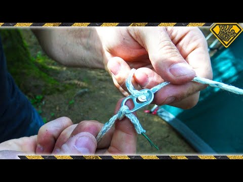 How to Turn a Soda Can Tab Into an Improvised Line Tensioner For Tents When