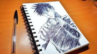 Drawing Anime Character Megumi Fushiguro from Jujutsu Kaisen Ballpoint pen drawing #shorts