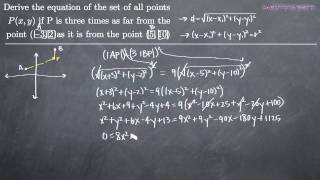 Analytic Geometry- Set Of Points Unequally Distant From Two Points