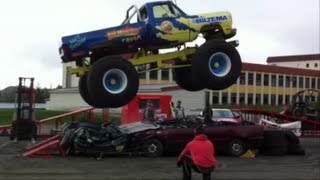 Monster Truck Show ❤ (a veteran fire engine and a Dodge Ram pimped out)