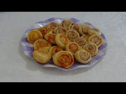 video ricetta:  finger food, girelle di pasta sfoglia.
