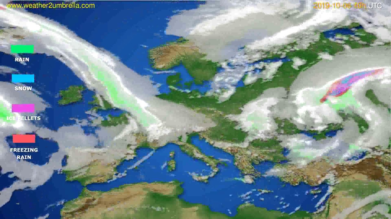 Precipitation forecast Europe // modelrun: 00h UTC 2019-10-04