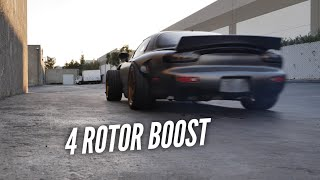 The 4 Rotor RX-7 is a MONSTER at 0 Pounds of Boost.  Belts and Pumps fixed! by Rob Dahm