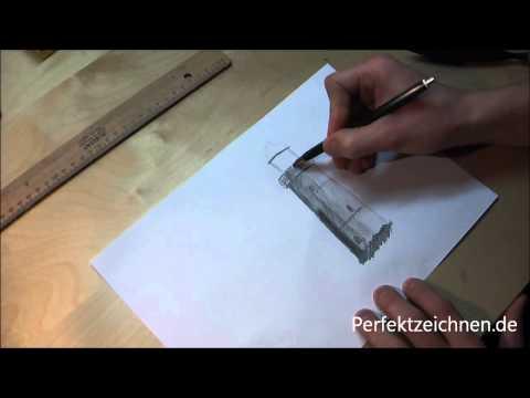 Zeichnen Lernen Online: Landschaftsbilder Leuchtturm in Landschaft zeichnen lernen!
