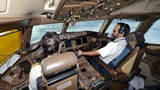PIA Pakistan International Airlines B777-200/ER flight PK788 London to Karachi from the flight deck.