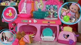[ 제니플레이 ] 디즈니 주니어 미니마우스 싹뚝싹뚝 시장놀이 미니 키친 주방놀이 장난감세트 Disney Minnie Bow Tique Bowtastic Kitchen Playset