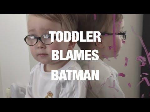 Scottish Toddler Blames Batman for Lipstick on Mom's Mirror [VIDEO]