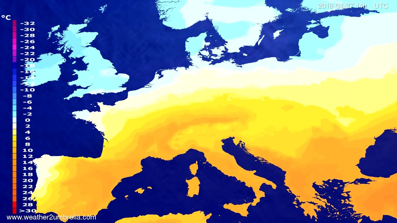 Temperature forecast Europe 2018-04-23