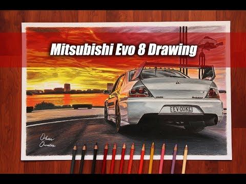 Sunset With Mitsubishi Evo 8 | Australia | JDM AWD CAR DRAWING