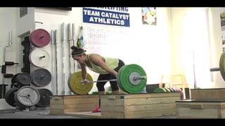 Weightlifting training footage of Catalyst weightlifters. Jessica block snatch high p