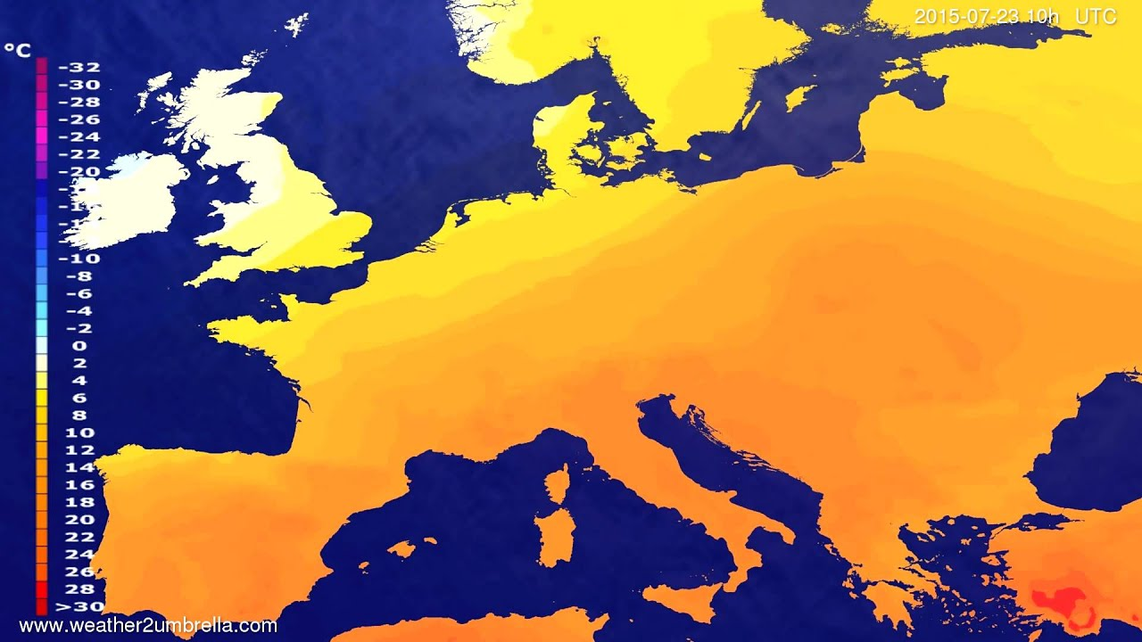 Temperature forecast Europe 2015-07-19