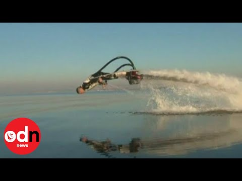 water jetpack - Franky Zapata uses a flyboard to zoom in and out of the water and leap through the air. Report by Jeremy Barnes.. Subscribe to ITN News! http://www.youtube.c...