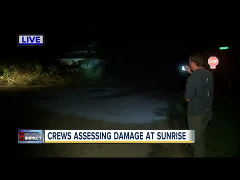 Crews assessing Hurricane Michael damage at sunrise in Tallahassee