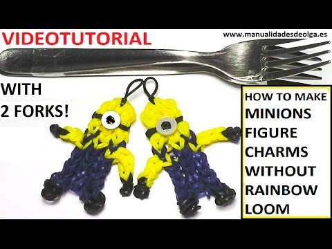 Minion Charm With two forks without Rainbow Loom Tutorial. (Mini Figurine)