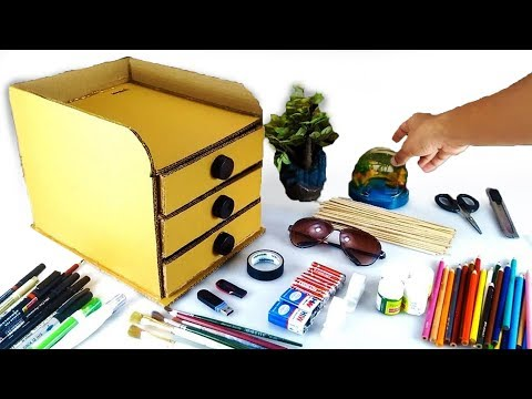 Video How to make DIY Desk Organizer with Drawers from Cardboard download in MP3, 3GP, MP4, WEBM, AVI, FLV January 2017