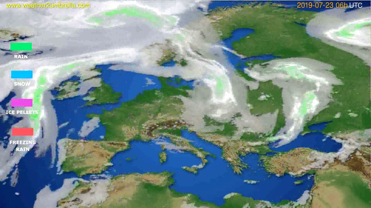 Precipitation forecast Europe // modelrun: 12h UTC 2019-07-20